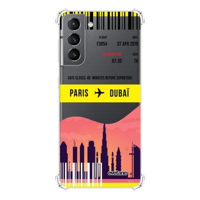 Coque Samsung Galaxy S21 5G anti-choc souple angles renforcés transparente Blllet Paris-Dubaî Evetane.