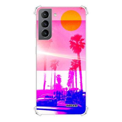 Coque Samsung Galaxy S21 5G anti-choc souple angles renforcés transparente Sunset Evetane.