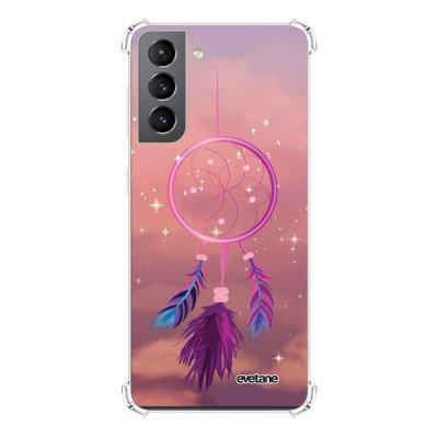 Coque Samsung Galaxy S21 5G anti-choc souple angles renforcés transparente Attrape rêve rose Evetane.