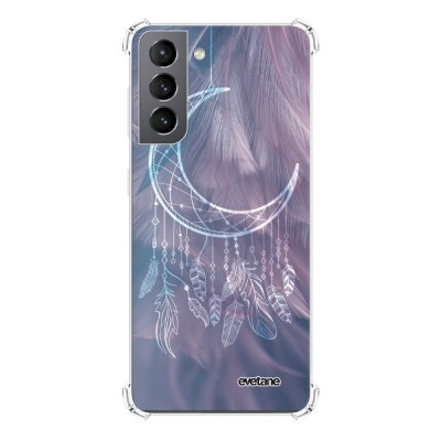 Coque Samsung Galaxy S21 5G anti-choc souple angles renforcés transparente Lune Attrape Rêve Evetane.