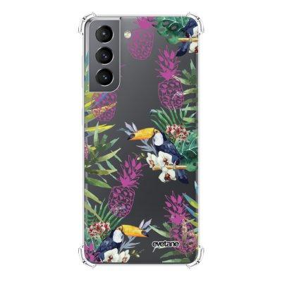 Coque Samsung Galaxy S21 5G anti-choc souple angles renforcés transparente Jungle Tropicale Evetane.