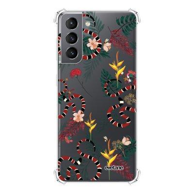 Coque Samsung Galaxy S21 5G anti-choc souple angles renforcés transparente Serpents et fleurs Evetane.