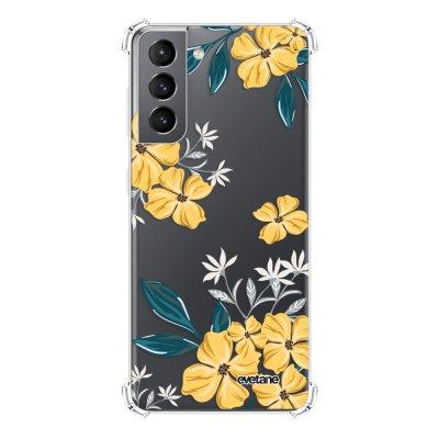 Coque Samsung Galaxy S21 5G anti-choc souple angles renforcés transparente Fleurs jaunes Evetane.