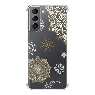 Coque Samsung Galaxy S21 5G anti-choc souple angles renforcés transparente Flocon mandala Evetane.