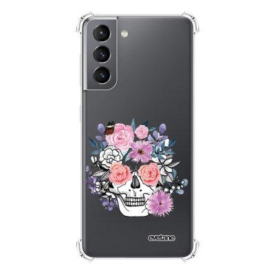 Coque Samsung Galaxy S21 5G anti-choc souple angles renforcés transparente Crâne floral Evetane.