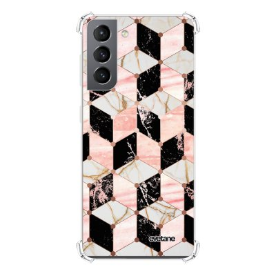 Coque Samsung Galaxy S21 5G anti-choc souple angles renforcés transparente Cubes Marbres Evetane.