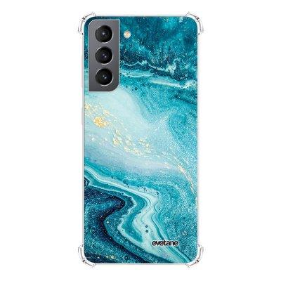 Coque Samsung Galaxy S21 5G anti-choc souple angles renforcés transparente Bleu Nacré Marbre Evetane.