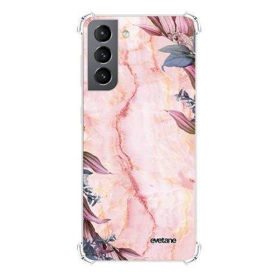 Coque Samsung Galaxy S21 5G anti-choc souple angles renforcés transparente Marbre Fleurs Evetane.