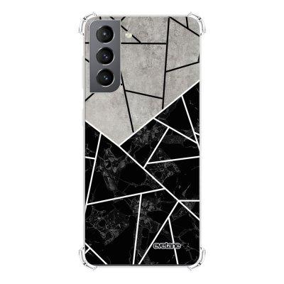 Coque Samsung Galaxy S21 5G anti-choc souple angles renforcés transparente Duo Noir-Gris Marbre Evetane.