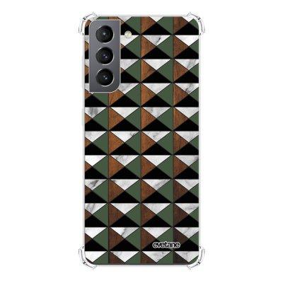 Coque Samsung Galaxy S21 5G anti-choc souple angles renforcés transparente Marbre Vert Kaki Bois Evetane.