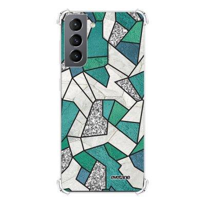 Coque Samsung Galaxy S21 5G anti-choc souple angles renforcés transparente Marbre Bleu Vert et Gris Evetane.