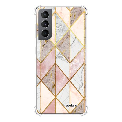 Coque Samsung Galaxy S21 5G anti-choc souple angles renforcés transparente Marbre Rose Losange Evetane.