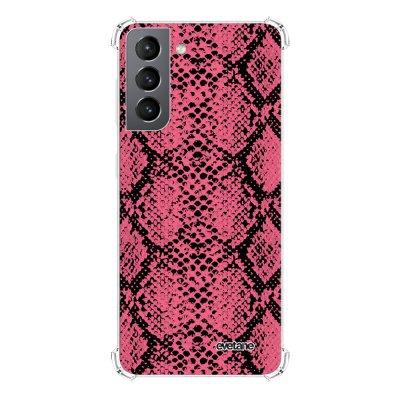 Coque Samsung Galaxy S21 5G anti-choc souple angles renforcés transparente Python Rose Evetane.