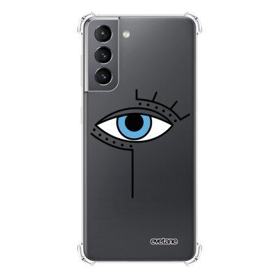 Coque Samsung Galaxy S21 5G anti-choc souple angles renforcés transparente Oeil Graphique Evetane.