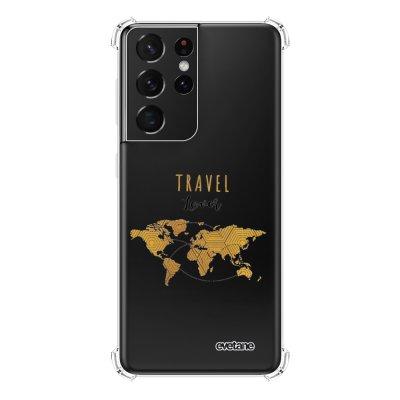 Coque Samsung Galaxy S21 Ultra 5G anti-choc souple angles renforcés transparente Travel Lover Evetane.