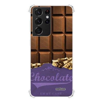 Coque Samsung Galaxy S21 Ultra 5G anti-choc souple angles renforcés transparente Chocolat Evetane.