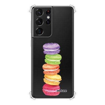 Coque Samsung Galaxy S21 Ultra 5G anti-choc souple angles renforcés transparente Macarons Evetane.