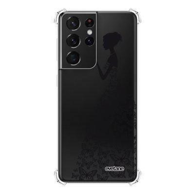 Coque Samsung Galaxy S21 Ultra 5G anti-choc souple angles renforcés transparente Silhouette Papillons Evetane.