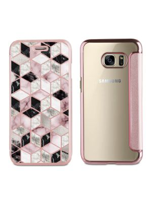 Etui de protection effet cuir Galaxy S6  -  Doré rose  - Cubes Géométriques