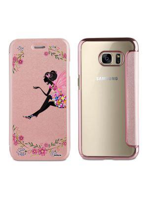 Etui de protection effet cuir Galaxy S6  -  Doré rose  - Fée Fleurs