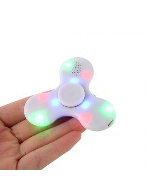 Fidget Spinner blanc avec Haut Parleur sans fil bluetooth et LED