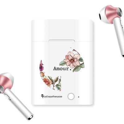 Ecouteurs Sans Fil Bluetooth Rose Gold rose gold Amour en fleurs Ecriture Tendance et Design La Coque Francaise.