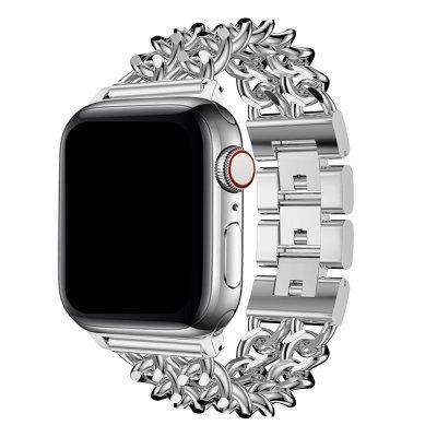 Bracelet chaîne en acier inoxydable Argent Compatible avec  Apple Watch 38-40