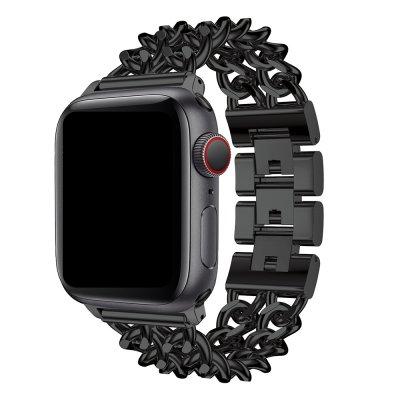 Bracelet chaîne en acier inoxydable Noir Compatible avec  Apple Watch 38-40
