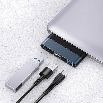 Adaptateur Type C pour Ordinateur avec 2 Sorties USB et une sortie Type C