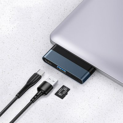 Adaptateur Type C pour Ordinateur avec 1 Sortie USB ,une sortie Type C, une sortie Micro SD