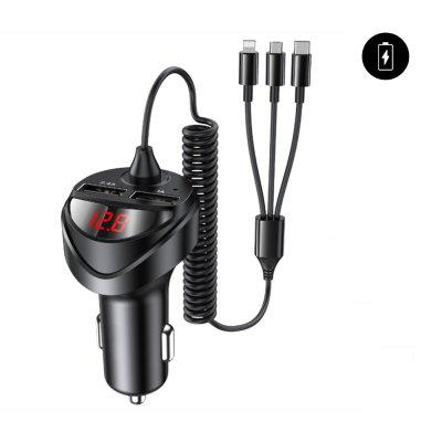 Chargeur de voiture double USB 3.4A avec câble  3 en 1 : Micro USB, Type C et Lightning Noir