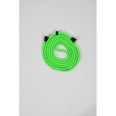Lanière cordon en coton tressée avec embout en métal noir mat, coloris vert fluo