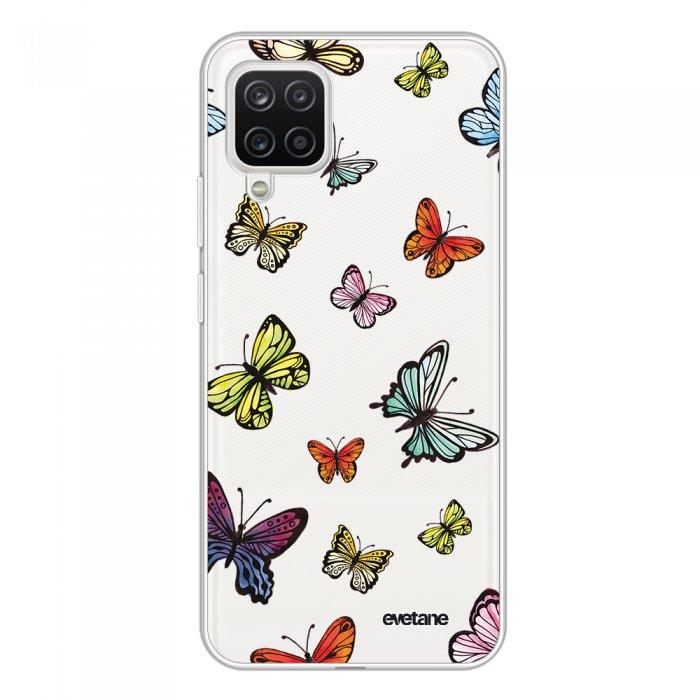 Coque Samsung Galaxy A12 360 intégrale transparente Papillons Multicolors Tendance Evetane.