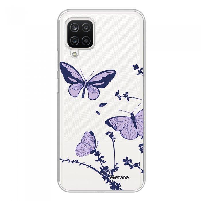 Coque Samsung Galaxy A12 360 intégrale transparente Papillons Violets Tendance Evetane.