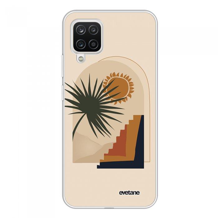 Coque Samsung Galaxy A12 360 intégrale transparente Palmier et Soleil beige Tendance Evetane.