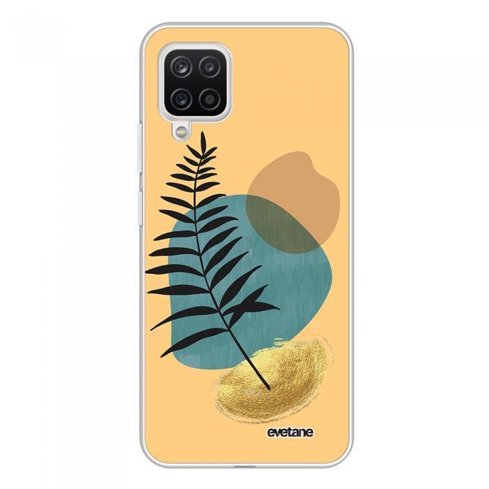 Coque Samsung Galaxy A12 360 intégrale transparente Feuille noir et pierre bleue Tendance Evetane.