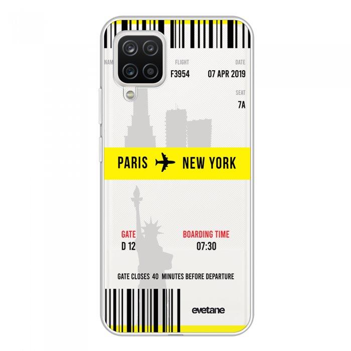 Coque Samsung Galaxy A12 360 intégrale transparente Blllet Paris-New York Tendance Evetane.