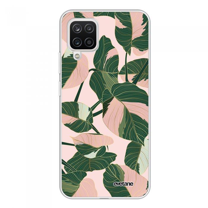 Coque Samsung Galaxy A12 360 intégrale transparente Feuilles vertes et roses Tendance Evetane.