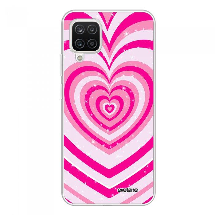 Coque Samsung Galaxy A12 360 intégrale transparente Coeur Psychédélique Rose Tendance Evetane.