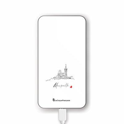 Batterie en verre trempé universel 8000mAh Marseille Notre Dame Motif Ecriture Tendance La Coque Francaise
