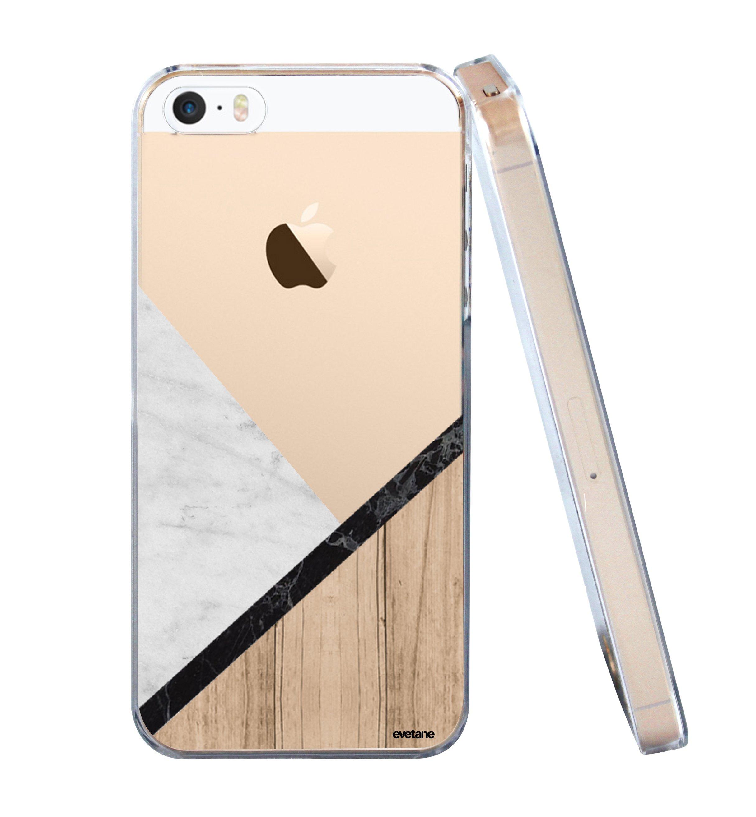 coque rigide transparent marbre et bois iphone se 5s 5