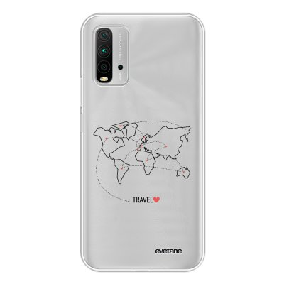 Coque Xiaomi Redmi 9T 360 intégrale transparente Travel Tendance Evetane.