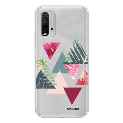 Coque Xiaomi Redmi 9T 360 intégrale transparente Triangles Jungle Tendance Evetane.