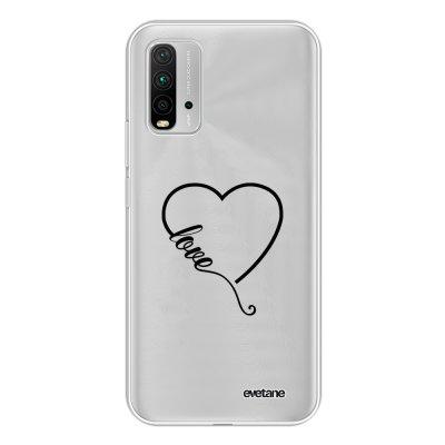 Coque Xiaomi Redmi 9T 360 intégrale transparente Coeur love Tendance Evetane.