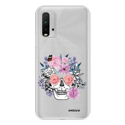 Coque Xiaomi Redmi 9T 360 intégrale transparente Crâne floral Tendance Evetane.