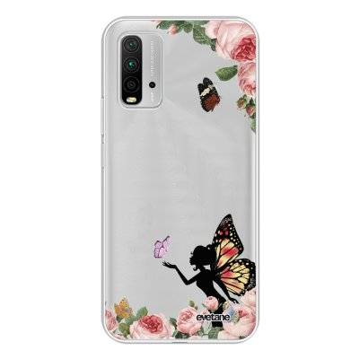 Coque Xiaomi Redmi 9T 360 intégrale transparente Fée papillon fleurale Tendance Evetane.