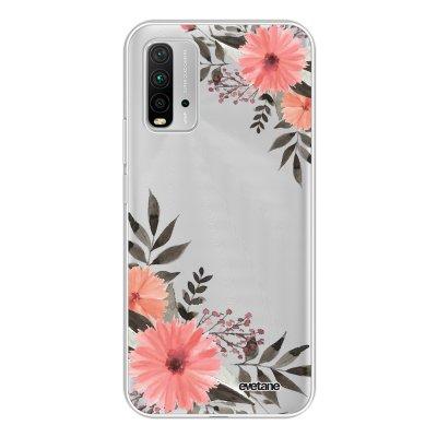 Coque Xiaomi Redmi 9T 360 intégrale transparente Fleurs roses Tendance Evetane.
