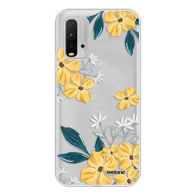 Coque Xiaomi Redmi 9T 360 intégrale transparente Fleurs jaunes Tendance Evetane.