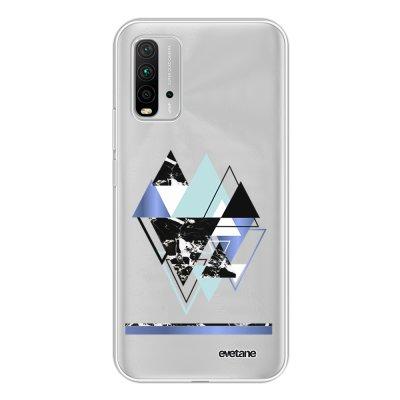 Coque Xiaomi Redmi 9T 360 intégrale transparente Triangles Bleus Tendance Evetane.