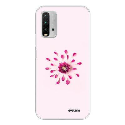 Coque Xiaomi Redmi 9T 360 intégrale transparente Fleur Rose Fushia Tendance Evetane.